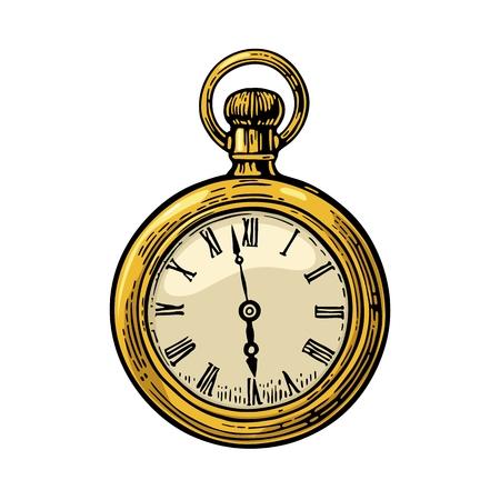 Reloj de bolsillo antiguo . Ilustración de grabado de color de vector vintage para gráfico de información, cartel, web. Aislado en el fondo blanco. Ilustración de vector