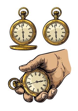 Mão segurando relógio de bolso antigo em metal. Relógio de bolso antigo. Ilustração de gravura vintage vintage.