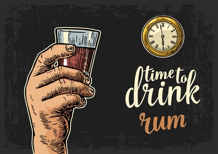Male hand holding glass rum and antique pocket watch. Vintage vector engraving illustration for web, poster, invitation to party. Time to Drink lettering. Isolated on dark background.