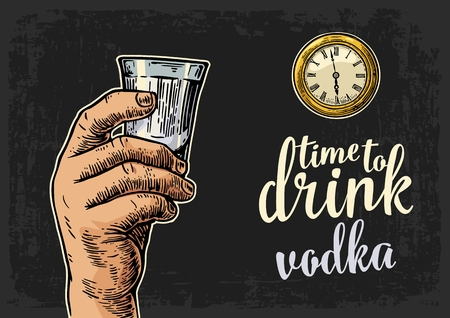 Male hand holding glass vodka and antique pocket watch. Vintage vector engraving illustration for web, poster, invitation to party. Time to Drink lettering. Isolated on dark background.