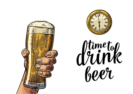 watch glass: Male hand holding glass beer and antique pocket watch. Vintage vector engraving illustration for web, poster, invitation to party. Time to Drink lettering. Isolated on white background. Illustration