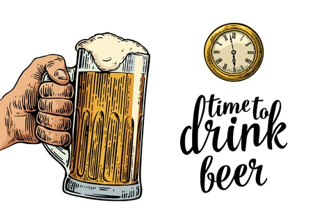 clink: Male hand holding glass beer and antique pocket watch. Vintage vector engraving illustration for web, poster, invitation to party. Time to Drink lettering. Isolated on white background. Illustration