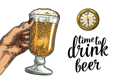 Female hand holding glass beer and antique pocket watch. Vintage vector engraving illustration for web, poster, invitation to party. Time to Drink lettering. Isolated on white background.