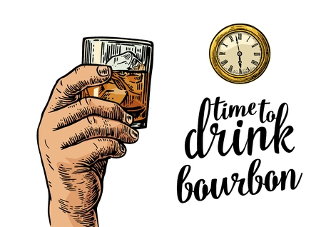 bourbon: Male hand holding glass bourbon and antique pocket watch. Vintage vector engraving illustration for web, poster, invitation to party. Time to Drink lettering. Isolated on white background.