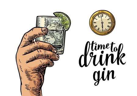 gin: Male hand holding glass gin and antique pocket watch. Vintage vector engraving illustration for web, poster, invitation to party. Time to Drink lettering. Isolated on white background.