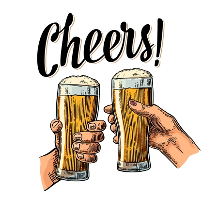 Female and male hands holding and clinking with two glasses beer. Cheers toast lettering. Vintage vector color engraving illustration for web, poster, invitation to party. Isolated on white background Vettoriali