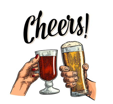 Female and male hands holding and clinking with two glasses beer and mulled wine. Cheers toast lettering. Vintage vector color engraving illustration for web, poster. Isolated on white background.