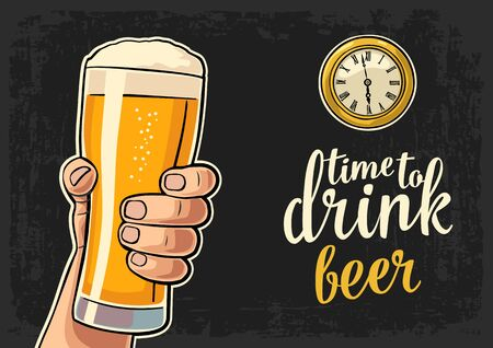 watch glass: Male hand holding glass beer and antique pocket watch. Vector flat illustration for web, poster, invitation to party. Time to Drink lettering. Isolated on dark vintage background. Illustration