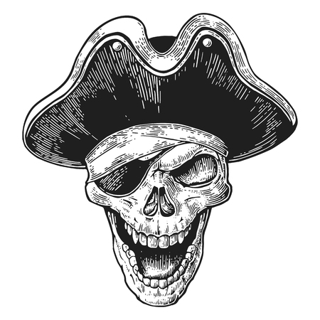 costume eye patch: Skull in pirate clothes eye patch and hat smiling. Black vintage engraving vector illustration. For poster and tattoo biker club. Hand drawn design element isolated on white background