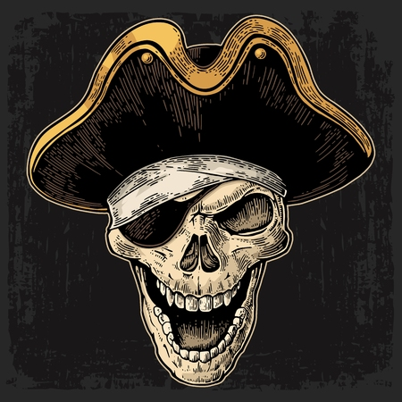 costume eye patch: Skull in pirate clothes eye patch and hat smiling. Color vintage engraving vector illustration. For poster and tattoo biker club. Hand drawn design element isolated on dark background