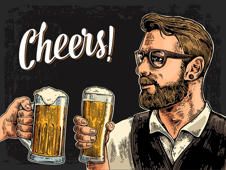 clinking: Hipster holding glass of beer and clinking. Cheers toast lettering. Vintage vector color engraving illustration for web, poster, invitation to party. Isolated on dark background.