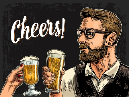 clinking: Hipster holding glass of beer and clinking with woman hand. Cheers toast lettering. Vintage vector color engraving illustration for web, poster, invitation to party. Isolated on dark background. Illustration
