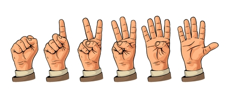 Set of gestures of hands counting from zero to five. Male Hand sign. Vector flat illustration isolated on white background.