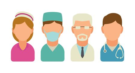 surgeons hat: Set medical people icon. Vector flat illustration isolated on white background.
