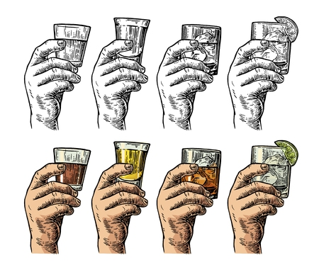 Male hand holding a glasses with tequila, rum, whiskey and ice cubes. Drawing in two graphic styles. Vintage vector color and balck engraving illustration. Isolated on white background