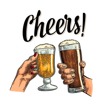 Female and male hands holding and clinking with two glasses beer. Cheers toast lettering. Vintage vector color engraving illustration for web, poster, invitation to beer party. Isolated on white background.