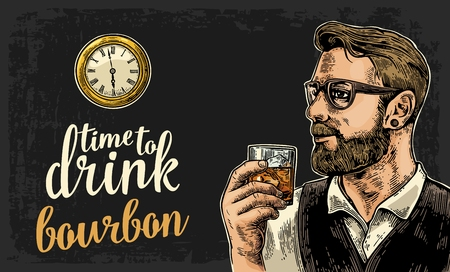 watch glass: Hipster holding a glass of bourbon and antique pocket watch. Vintage vector engraving illustration for web, poster, invitation to party. Time to Drink lettering. Isolated on dark background. Illustration