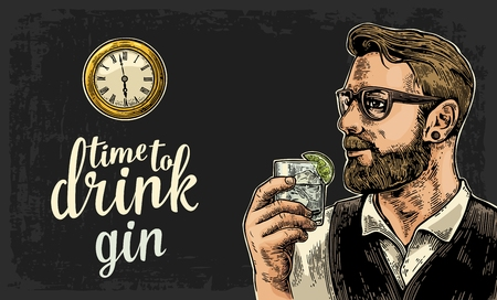 watch glass: Hipster holding a glass of gin and antique pocket watch. Vintage vector engraving illustration for web, poster, invitation to party. Time to Drink lettering. Isolated on dark background.