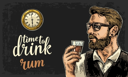 watch glass: Hipster holding a glass of rum and antique pocket watch on dark background. Vintage vector engraving illustration for web, poster, invitation to party. Time to Drink lettering. Illustration