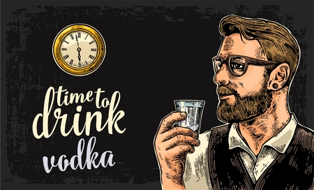 watch glass: Hipster holding a glass of vodka and antique pocket watch on dark background. Vintage vector engraving illustration for web, poster, invitation to party. Time to Drink lettering. Illustration