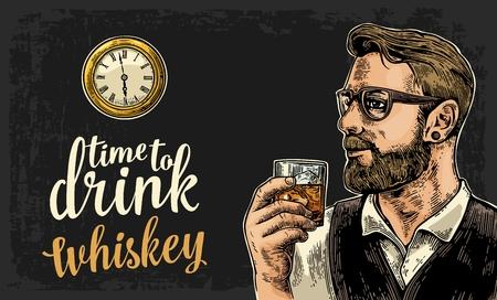 流行に敏感なウィスキーとアンティークの懐中時計のガラスを保持しています。ビンテージ ベクトル ウェブ、ポスター、パーティーへの招待状のイ