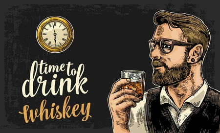 Hipster holding a glass of whiskey and antique pocket watch. Vintage vector engraving illustration for web, poster, invitation to party. Time to Drink lettering. Isolated on dark background. Illustration