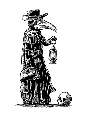 Plague, doctor with bird mask,suitcase, lantern, garlic and hat. Vector black vintage engraving illustration isolated on a white background. For poster and book Ilustração