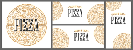Horizontal, vertical and square poster with monochrome slice and whole pizza Pepperoni, Hawaiian, Margherita, Mexican, Seafood, Capricciosa. Vintage vector engraving illustration menu, box isolated on white background Stock Photo