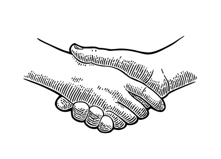 Handshake. Vector black vintage engraving illustration isolated on a white background. For web, poster, info graphic.