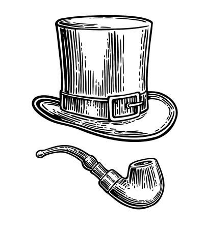 Top Gentleman Hut und Pfeife. Vektorweinlese gravierte die schwarze Illustration, die auf weißem Hintergrund lokalisiert wurde.