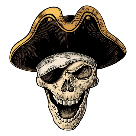 Skull in pirate clothes eye patch and hat smiling. Color vintage engraving vector illustration. For poster and tattoo biker club. Hand drawn design element isolated on white background Illustration