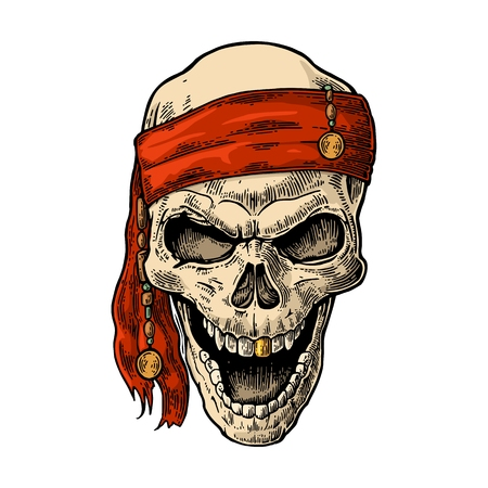 Skull pirate in bandana smiling. Color vintage engraving vector illustration. For poster and tattoo biker club. Hand drawn design element isolated on white background