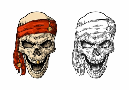 Skull pirate in bandana smiling. Color and black vintage engraving vector illustration. For poster, laser engraver and tattoo biker club. Hand drawn design element isolated on white background Vectores