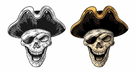 Skull in pirate clothes eye patch and hat smiling. Color and black vintage engraving vector illustration. For poster, laser engraver and tattoo biker club. Isolated on white background