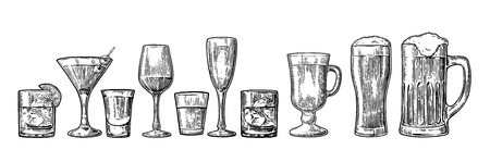 Set glass beer, whiskey, wine, tequila, cognac, champagne, cocktails and grog. Vector engraved black vintage illustration isolated on white background.