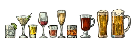 Set glass beer, whiskey, wine, gin, rum, tequila, cognac, champagne, cocktail and grog. Vector engraved color vintage illustration isolated on white background