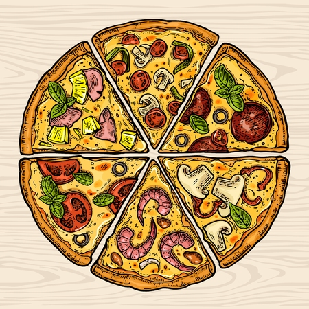 Square poster with slice pizza Pepperoni, Hawaiian, Margherita, Mexican, Seafood, Capricciosa. Vintage vector color engraving illustration. For menu, box. Isolated on wood seamless pattern background Ilustrace