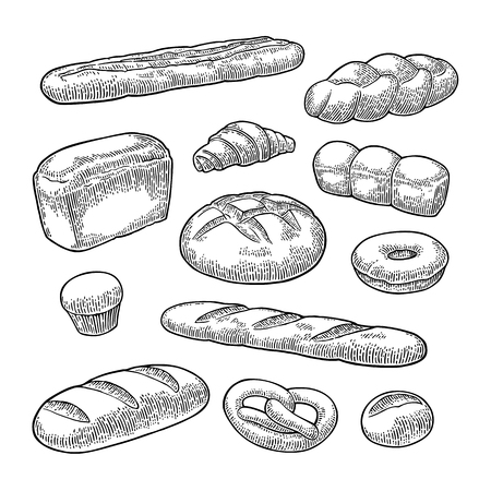 Set bread. Isolated on the white background. Vector black hand drawn vintage engraving illustration for poster, label and menu bakery shop.
