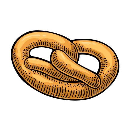 loaf: Pretzel. Vector black hand drawn vintage engraving illustration for poster, label and menu bakery shop. Isolated on the white background. Illustration
