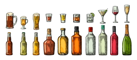 Set glass and bottle beer, whiskey, wine, gin, rum, tequila, cognac, champagne, cocktail, grog. Vector engraved color vintage illustration isolated on white background