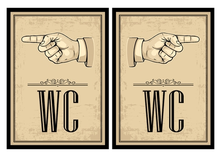 pointing hand: Pointing finger. Vector vintage illustration on beige background. Hand sign for web, poster, info graphic