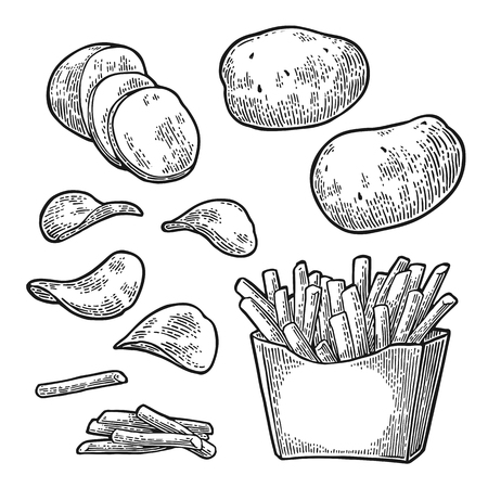 Friet plakken aardappel in kartonnen doos en chips. Geïsoleerd op een witte achtergrond. Vector gravure illustratie voor poster, menu, web, banner, info graphic Stockfoto - 70578245