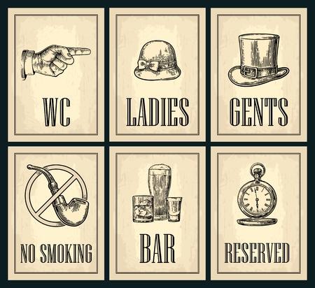 Set uithangbord. Wijzende vinger. Toilet Retro vintage grunge poster voor dames, cent. Vector vintage gegraveerde illustratie op een beige achtergrond. Voor bars, restaurants, cafés, pubs.