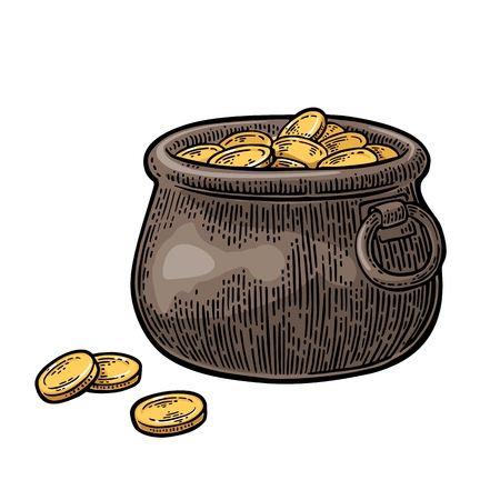 Pot of gold coins. Vector engraving vintage color illustration isolated on white background. Illustration