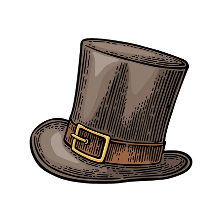 Top gentleman hat. Vector vintage engraving color illustration isolated on white background.