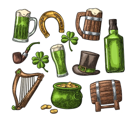 Saint Patrick Day. hat, Pot coins, pipe, beer, lyre, horseshoe