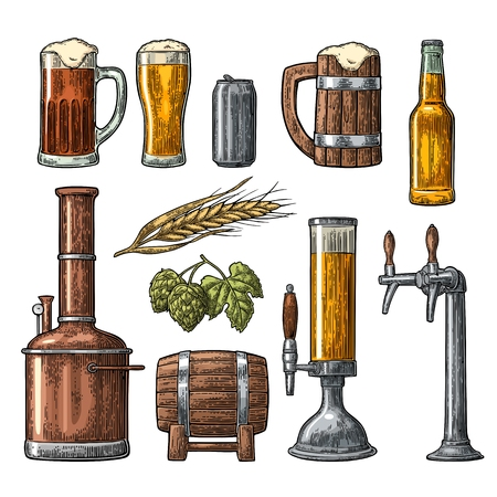 hogshead: Beer set with tap, class, can, bottle and tanks from brewery factory.