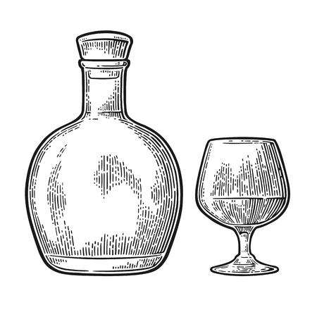 Glass and bottle of cognac. Vintage engraving illustration Ilustração