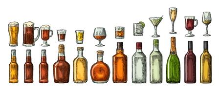 Zet glazen en flessenbier, whisky, wijn, gin, rum, tequila, cognac, champagne, cocktail, grog neer. Stockfoto - 71873150
