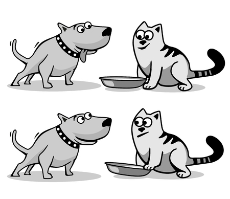 The dog wants to eat cat food. Isolated on white background. Vector black and gray flat illustration. Illustration